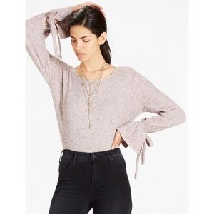 LUCKY BRAND Tie Sleeve Ribbed Pullover Sweater